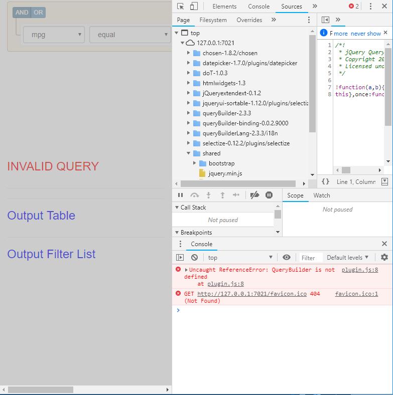 Javascript error: Uncaught ReferenceError: QueryBuilder is