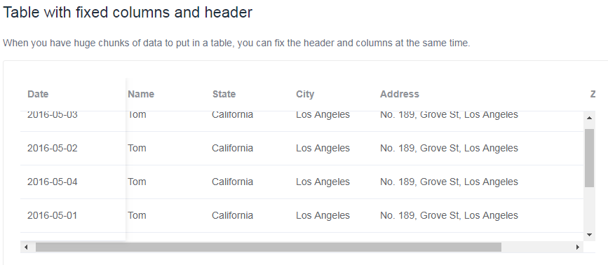 Feature Request] Data table with fixed columns and header