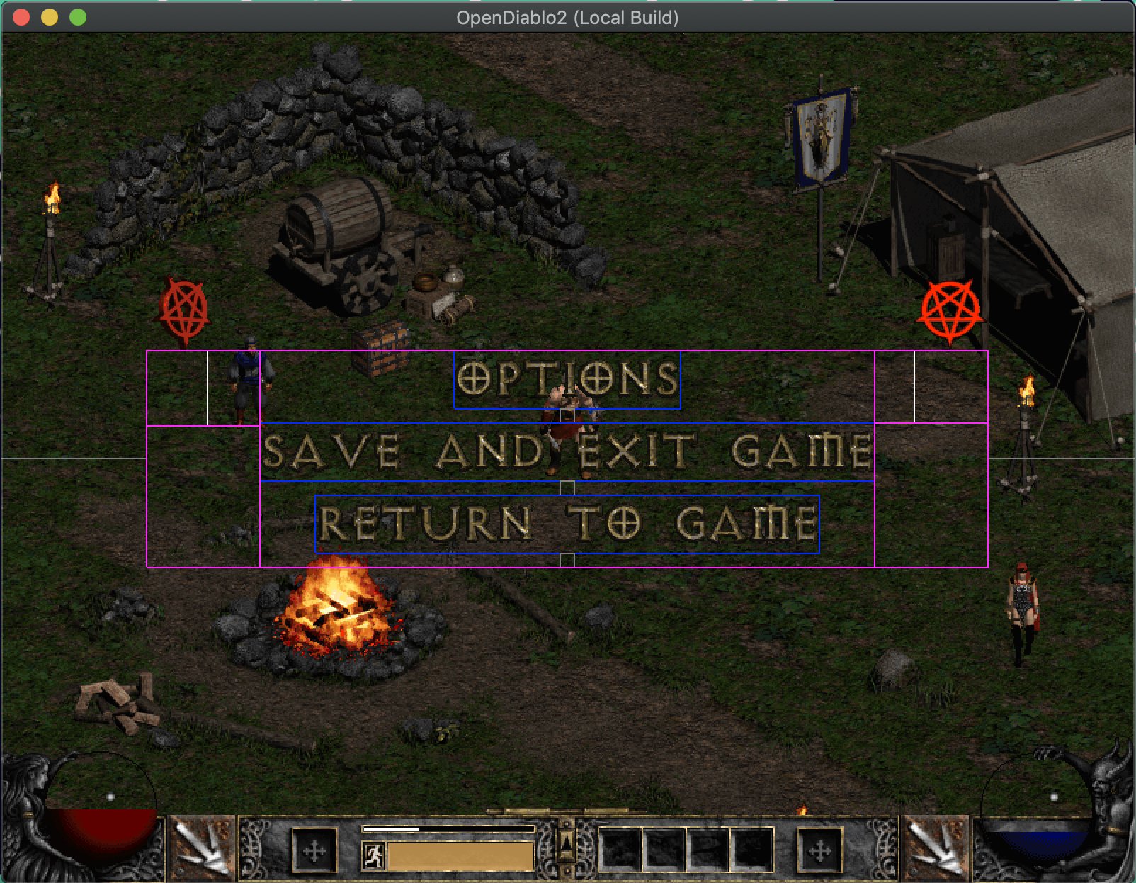 Example layout in debug mode
