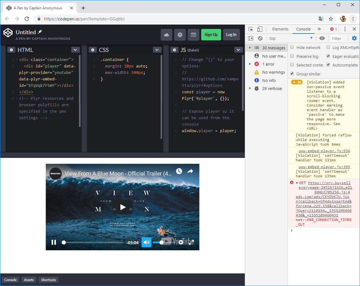 YouTube (official template) won't play in Codepen · Issue #1413