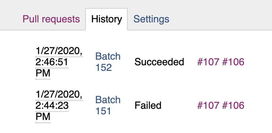 Screenshot showing the history that experienced an update to into_branch