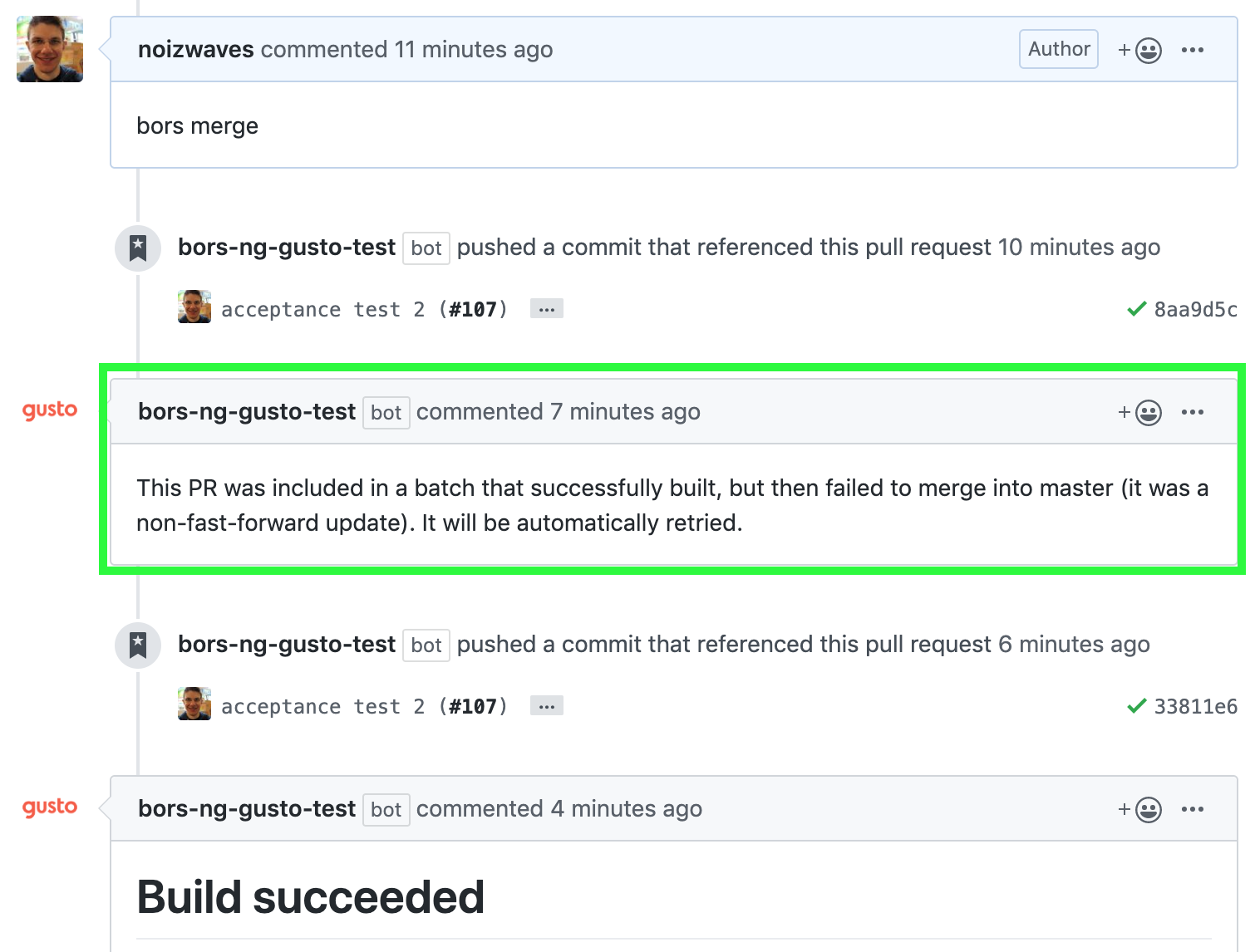 The comment history for an affected PR in the batch