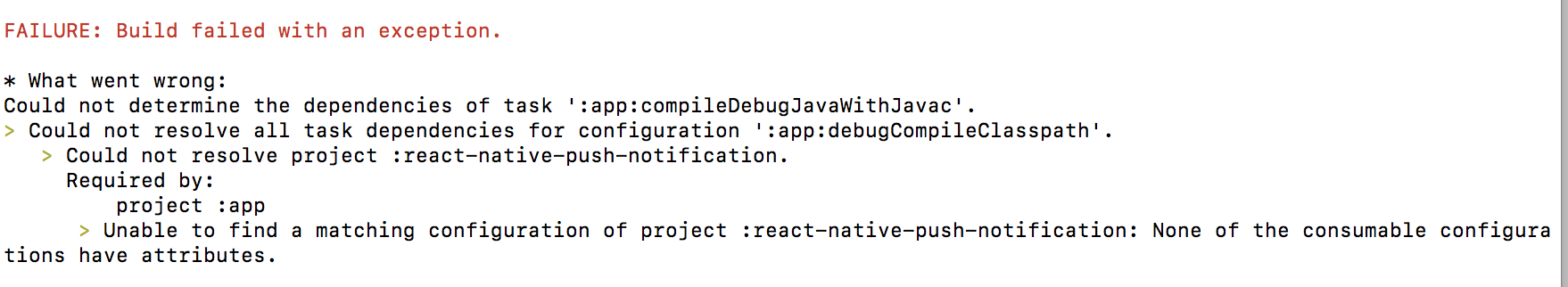 Could not determine the dependencies of task ':app