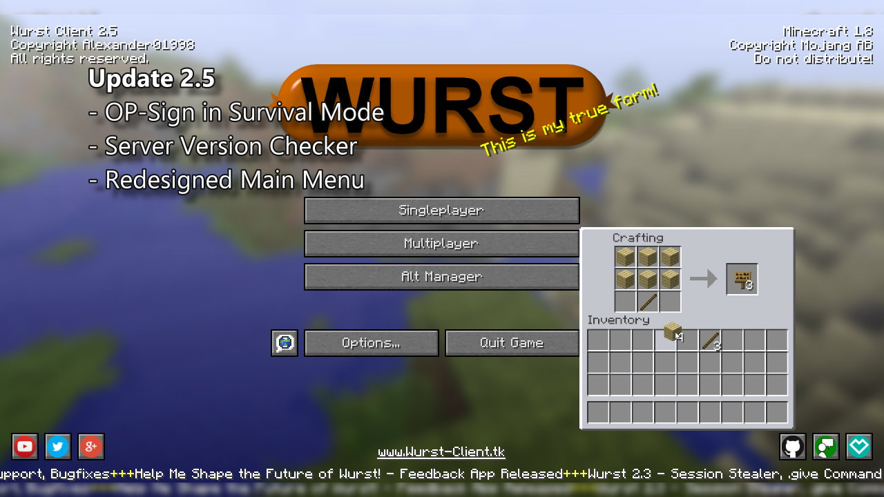 Wurst 2.5 - OP-Sign in Survival, Redesigned Main Menu