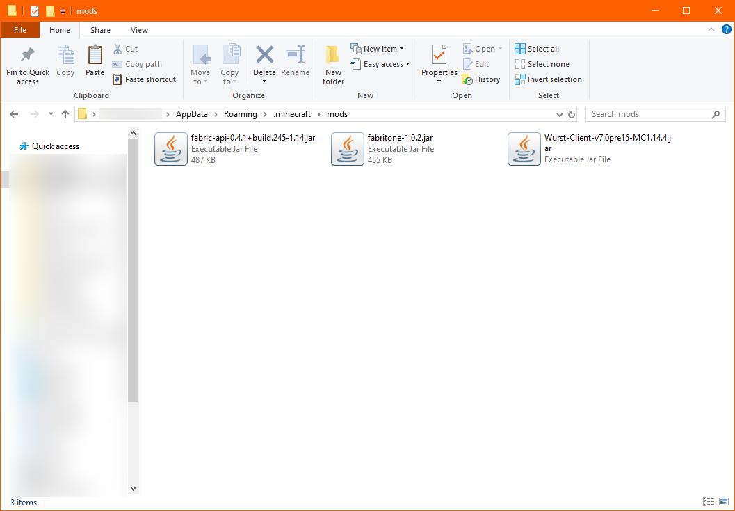 .minecraft/mods folder with Fabritone and Wurst