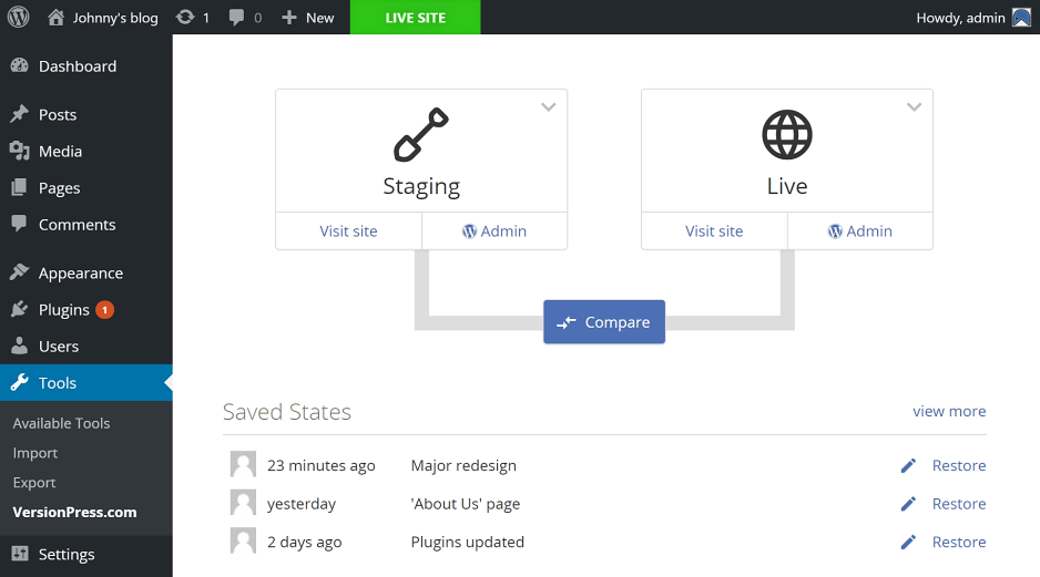 VersionPress.com staging