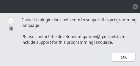 It is not working with swift · Issue #1 · gauravk-in/cheat sh