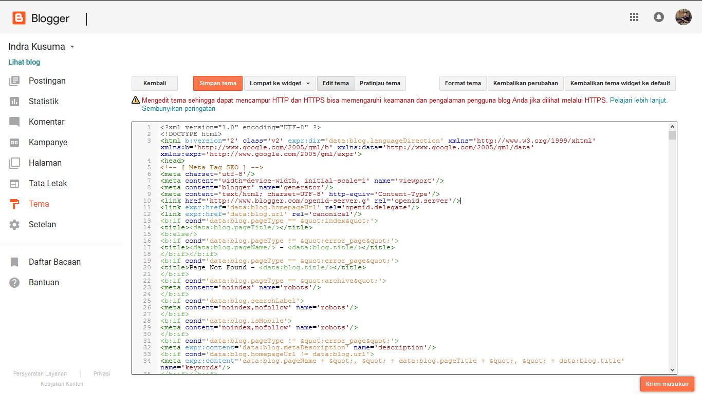 Ubah Template | HTML di blogger