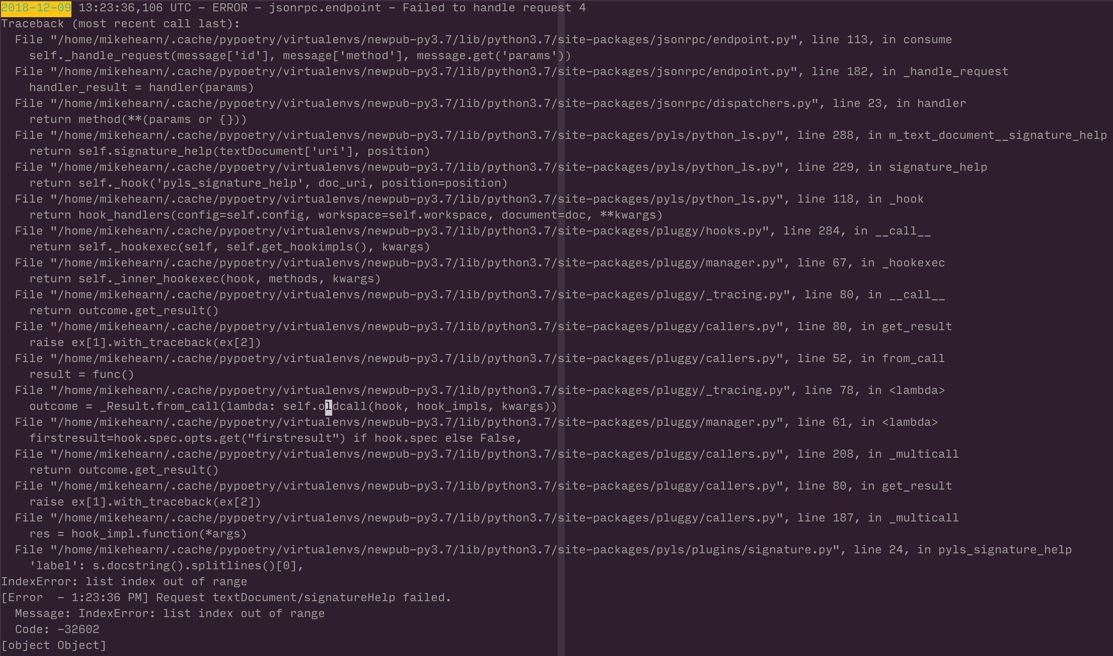 IndexError in signature py on textDocument/signatureHelp