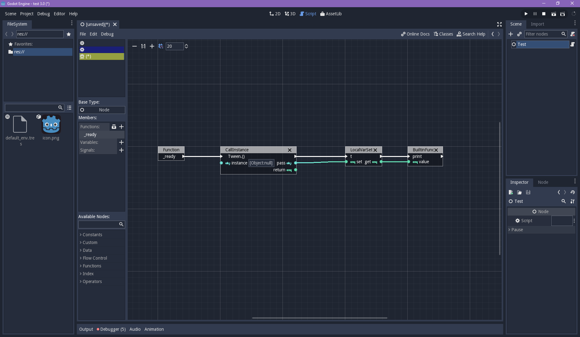Visual Script CallInstance should create an Instance when