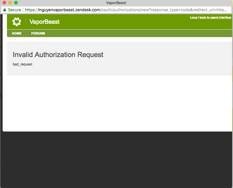 Invalid Authorization Request bad_request from localhost · Issue #17
