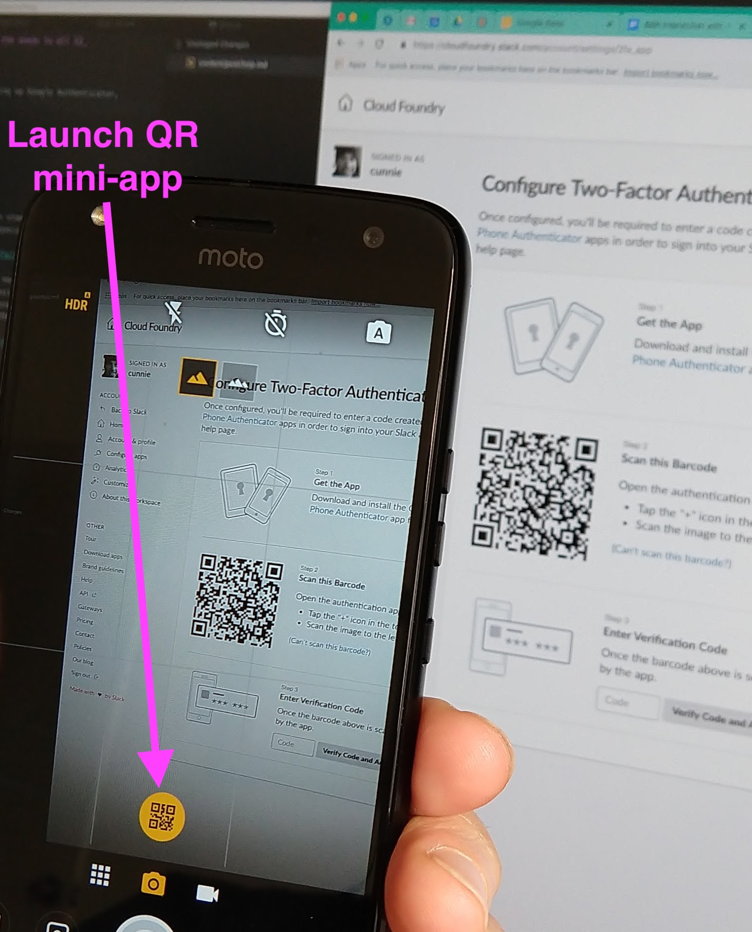 Scanning in a TOTP QR code