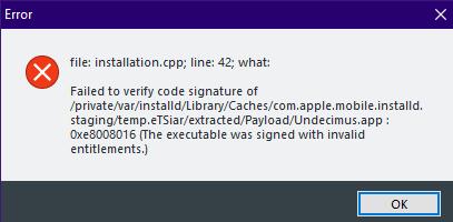 Failed to verify code signature of /private/var/installd