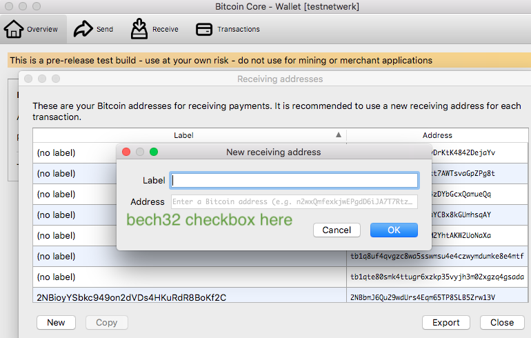 GUI: file->receiving addresses->New only generates non-bech32