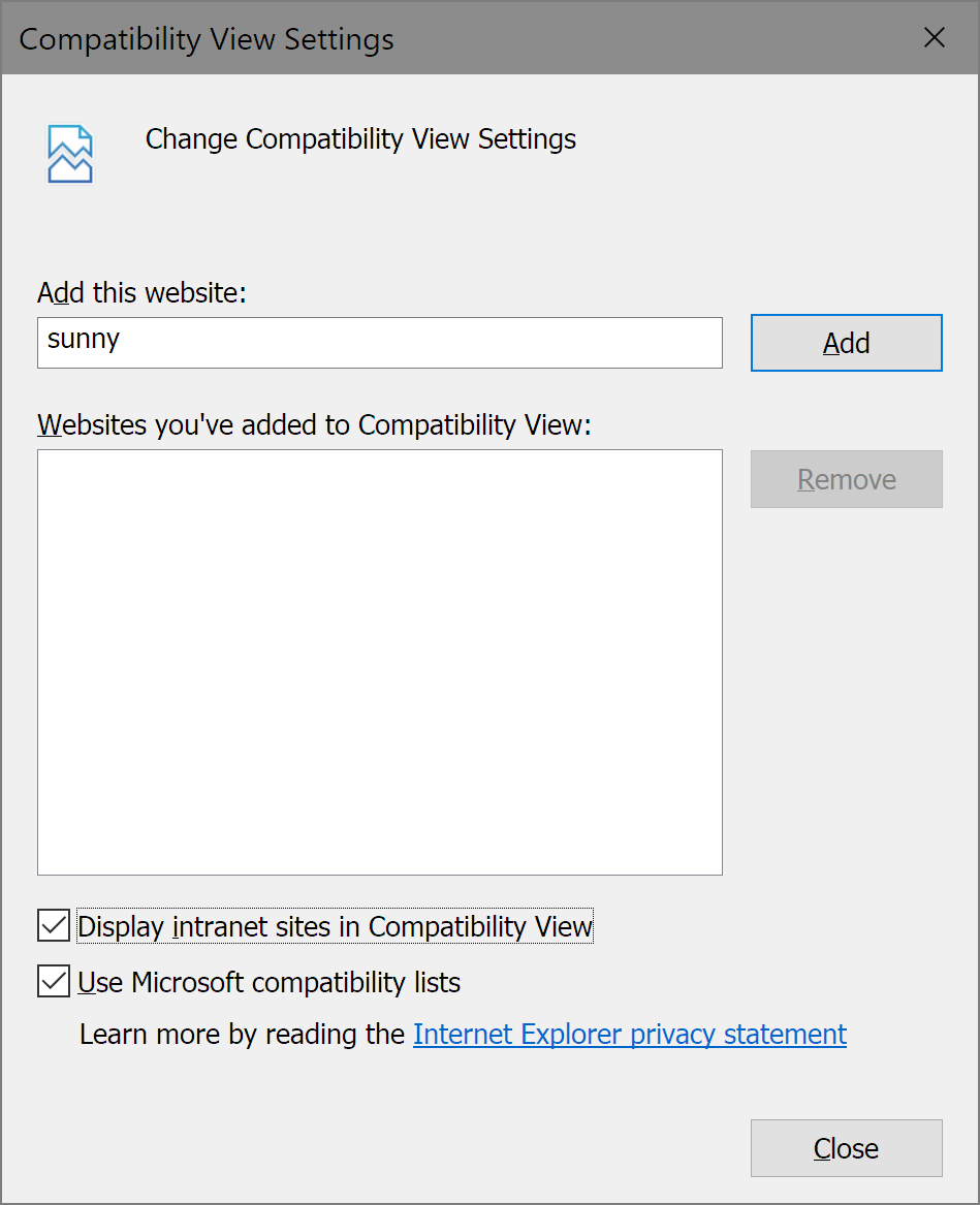 Login: Internet Explorer 11 triggers compatibility view for