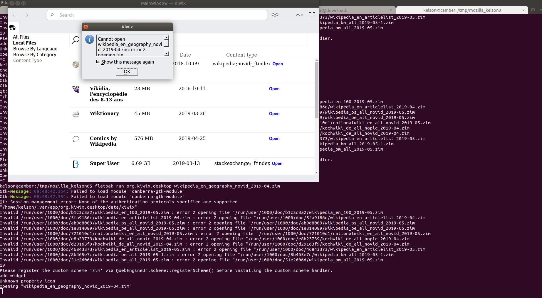 Kiwix-Desktop refuses to open valid ZIM file (linux) · Issue #148