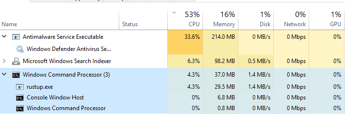 Installing rust-docs component on Windows 10 is very slow