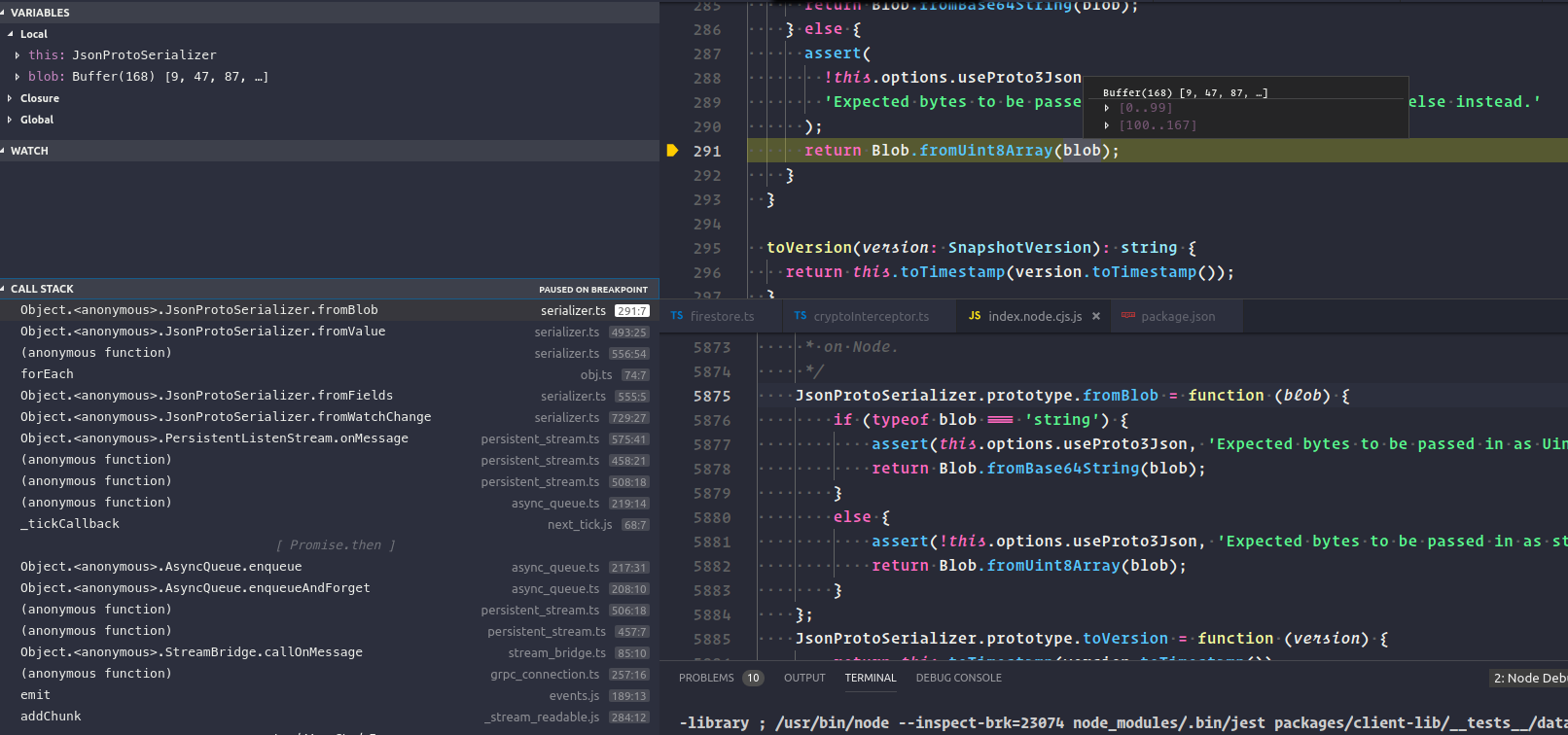 NodeJs: FirebaseError: Function Blob fromUint8Array() requires its