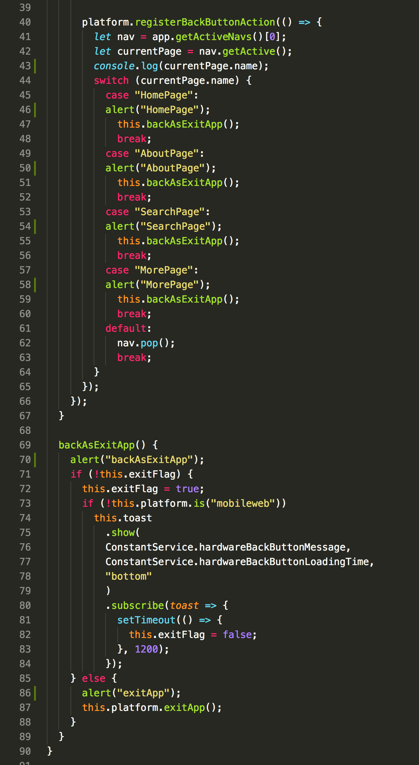 platform registerBackButtonAction() not working build --prod · Issue