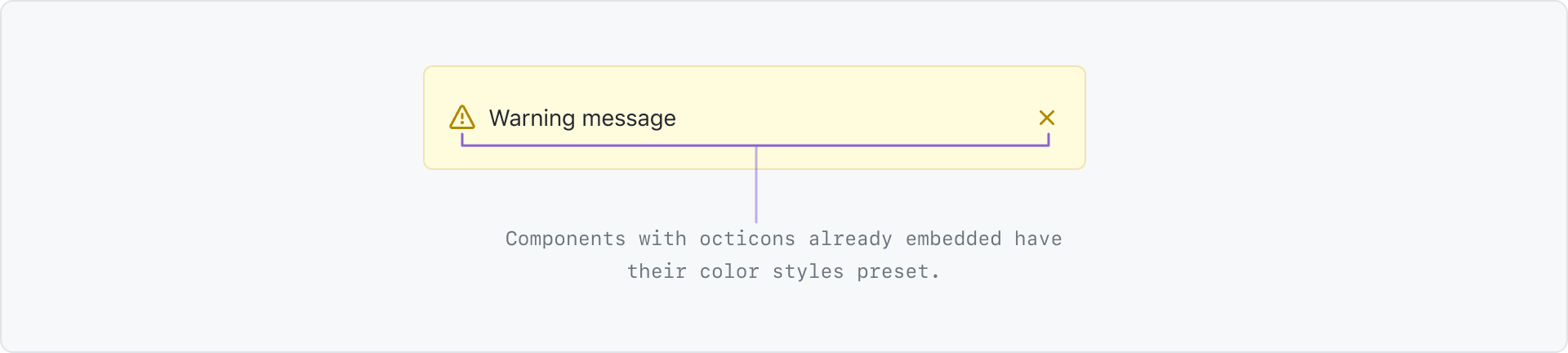 Components with octicons already embedded have their color styles preset. This is an example of a flash alert where the alert icon and close icon are preset to a dark yellow.