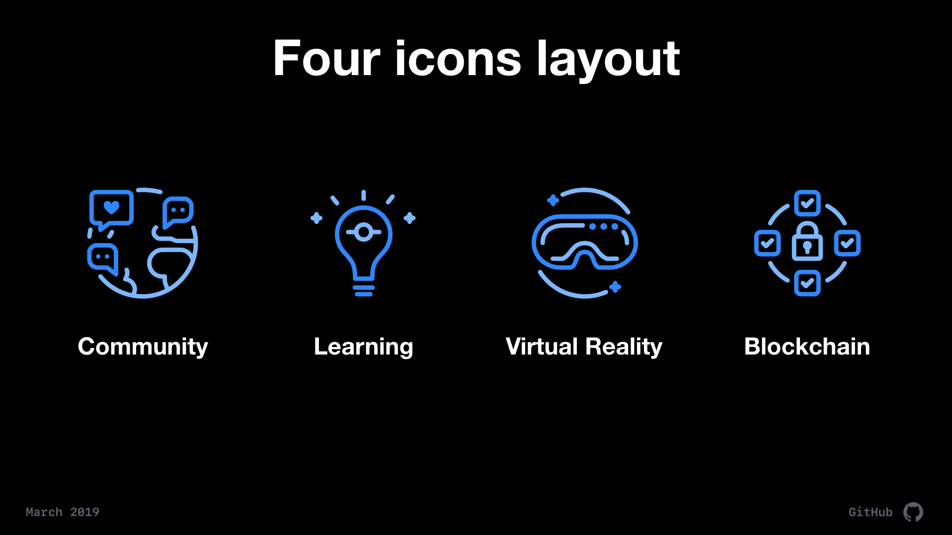 Icon pairing example with community pairing with a globe, learning with a lightbulb, virtual reality with a vr headset, and blockchain with lock surrounded by connected checkboxes in a circle