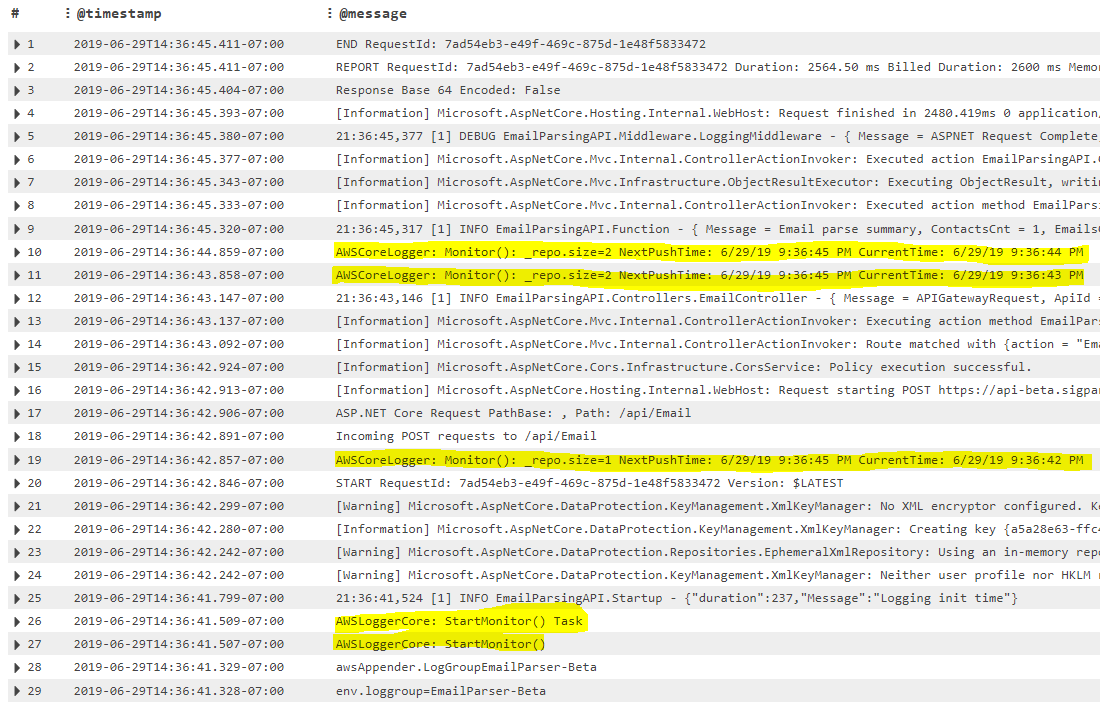 Lambdas going cold cause missed Cloudwatch Log writes