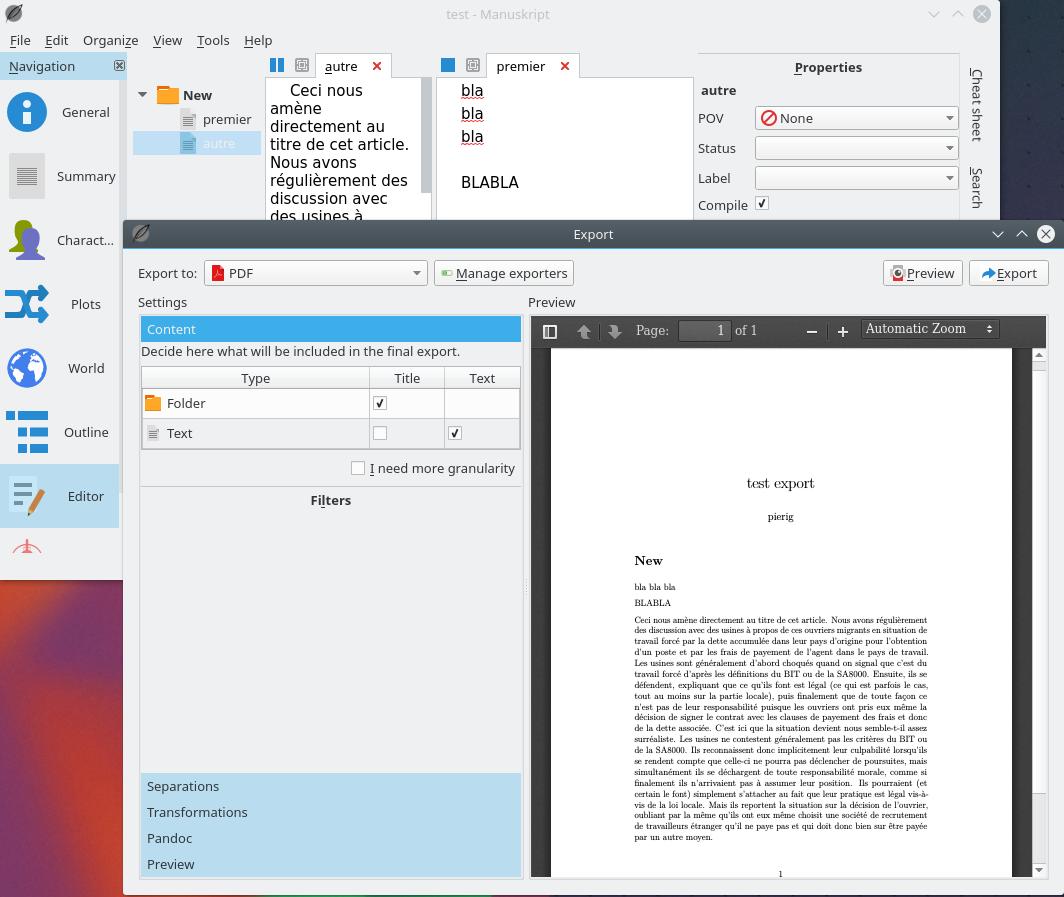 Compile remains empty · Issue #342 · olivierkes/manuskript · GitHub
