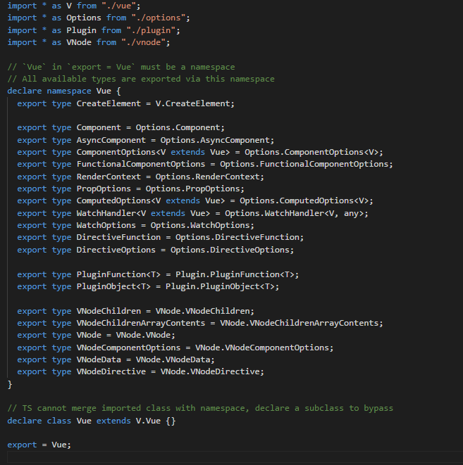 JS intellisense does not work when d ts contains import or