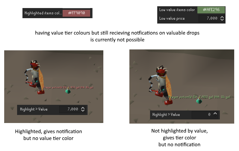 Valuable ground item color priority over highlighted ones