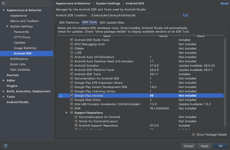 android studio google play services update