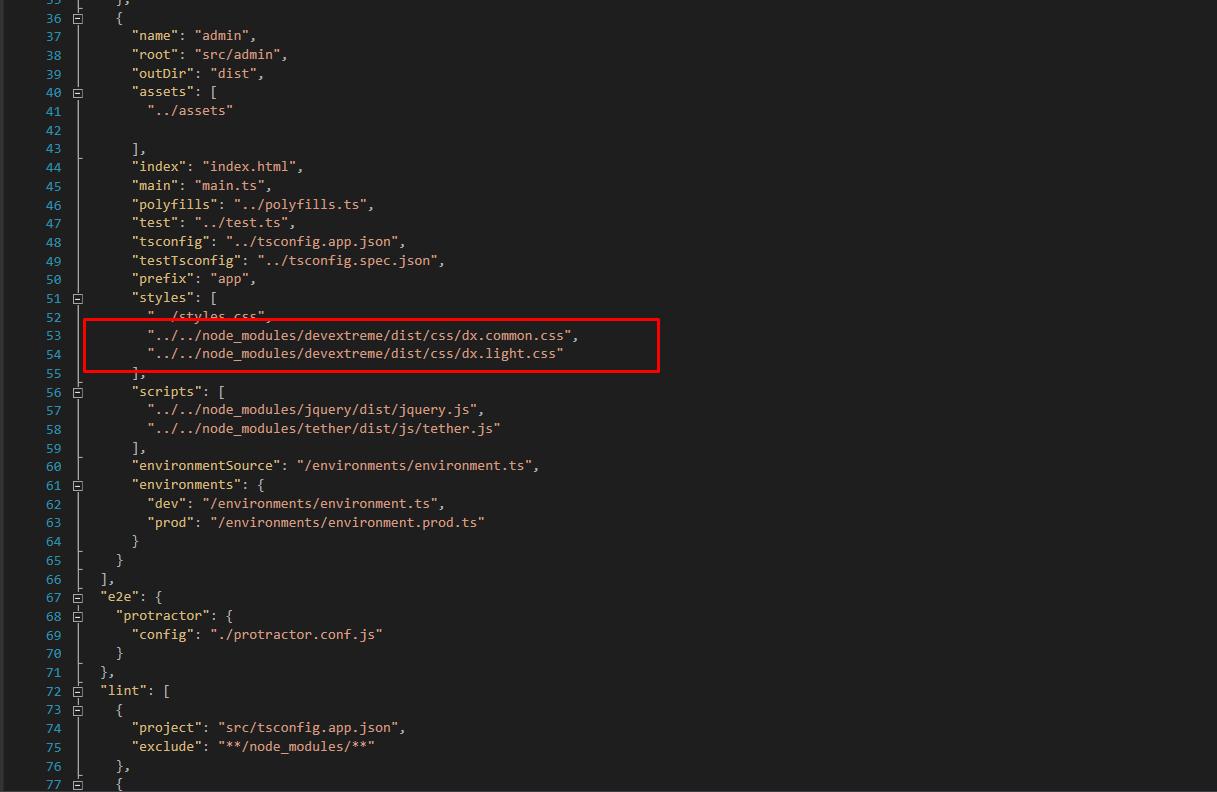 How use builder theme (Angular 4 + cli + devextreme-angular) · Issue