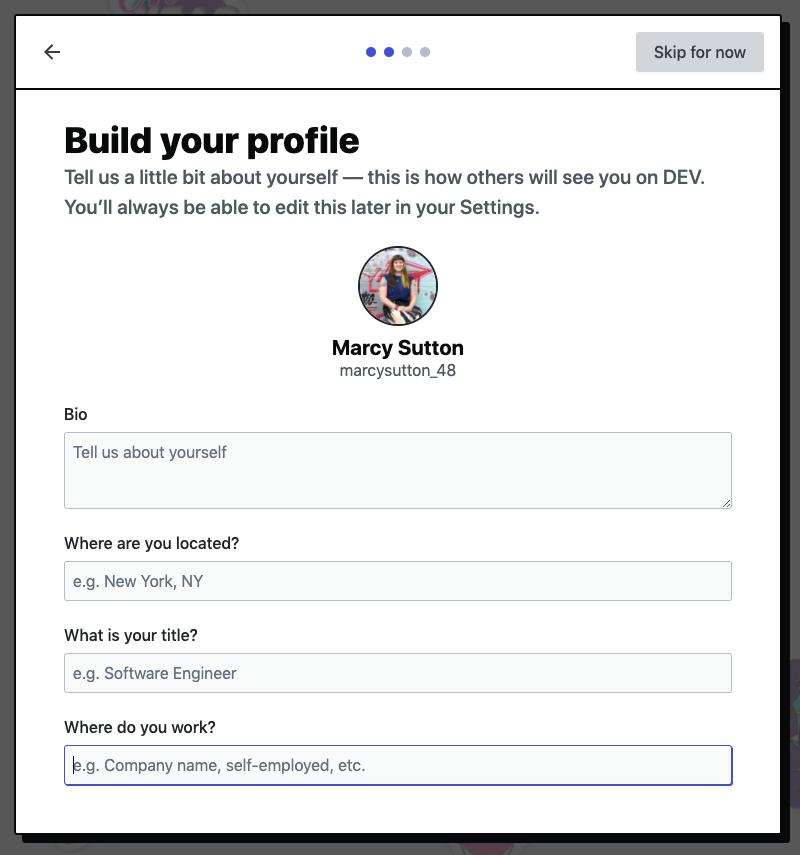 Profile form screen