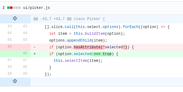 Use both DOM selected API and selected attribute to avoid
