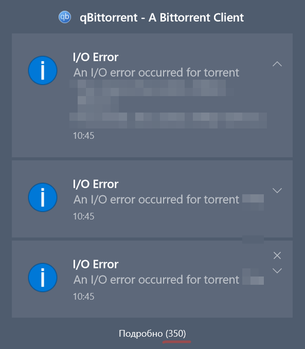 I/O IO error messages popping up · Issue #8391 · qbittorrent