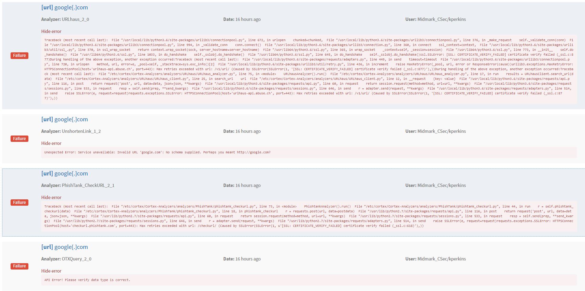 Bug] SSL verification failing for majority of analyzers. · Issue ...