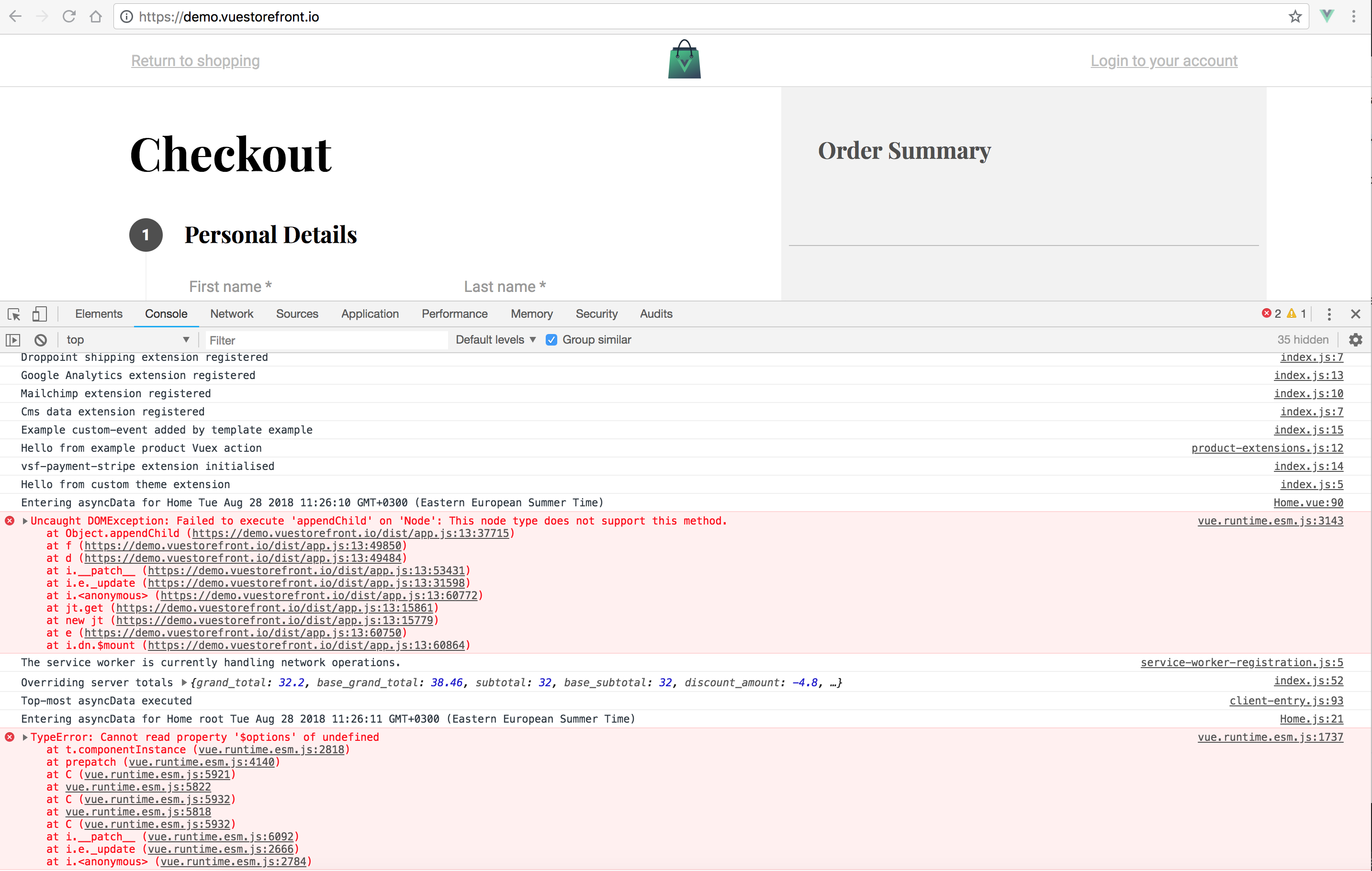 Page reload on checkout causes errors · Issue #1642