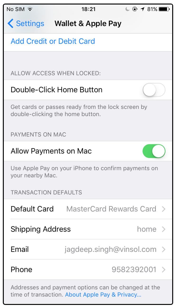 Set default card
