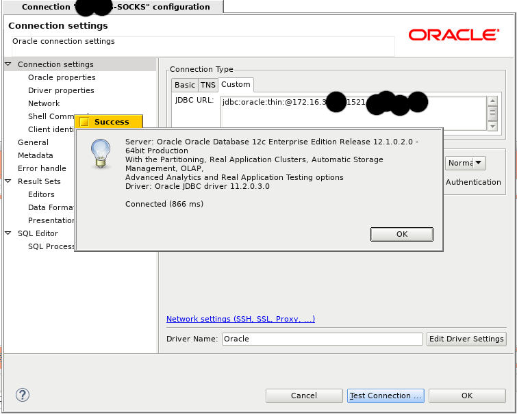 socks proxy support for oracle connection not working 5 2 0