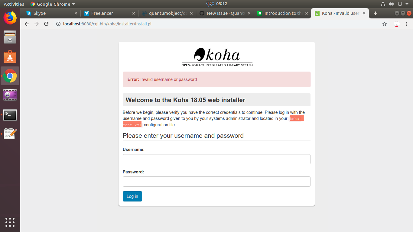 Error: Invalid username or password · Issue #10 · QuantumObject/docker-koha  · GitHub