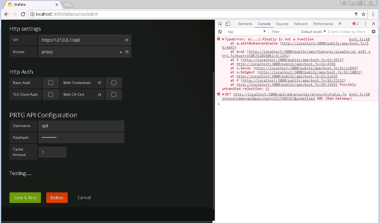 Add datasource error - Testing    · Issue #62 · neuralfraud/grafana