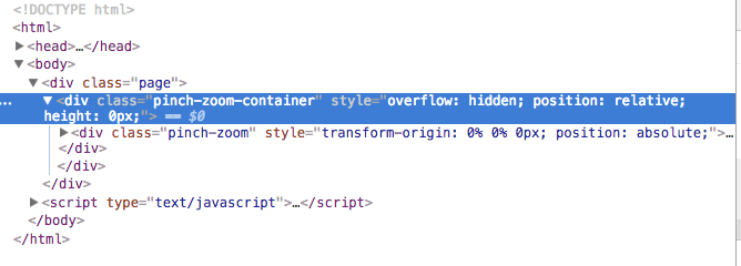 Height for the container in the initialization of the script