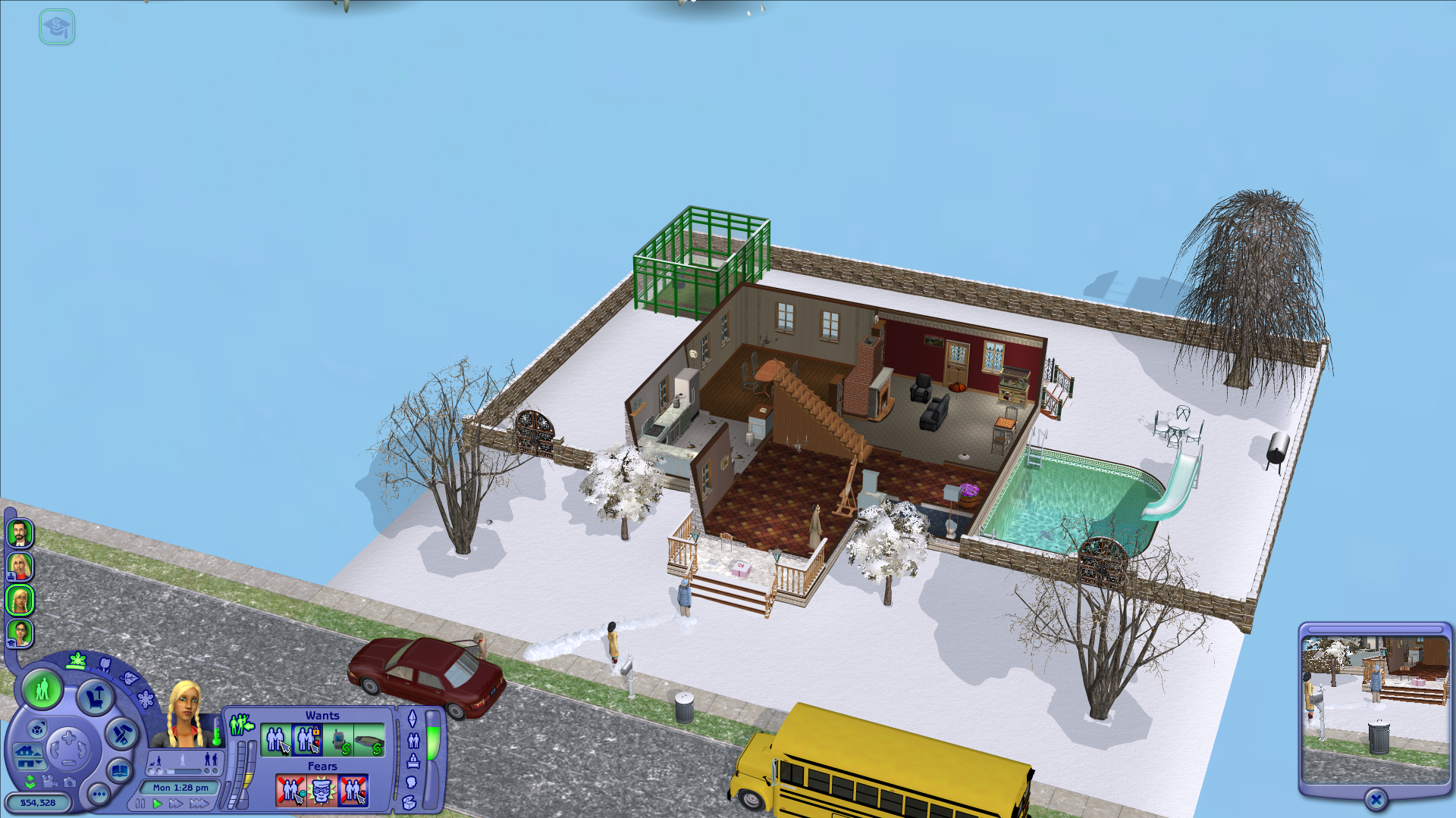 Blue snow on The Sims 2 Seasons