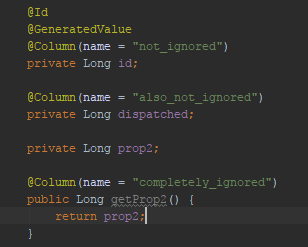 Column with name attribute not working property on entities