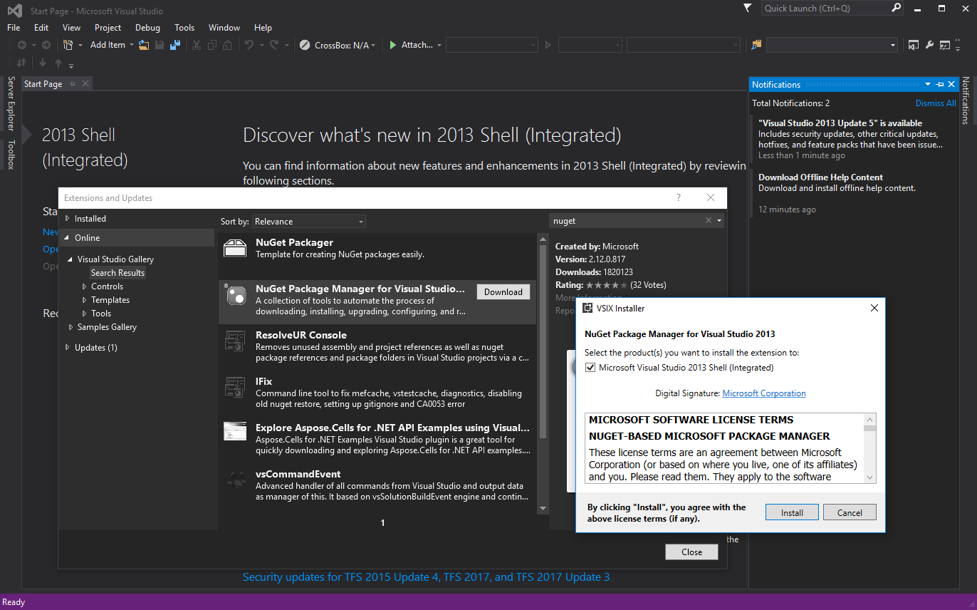 NuGet won't install on VS 2015 Integrated Shell · Issue