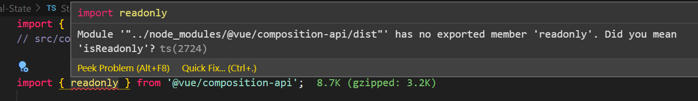 readonly api error when importing