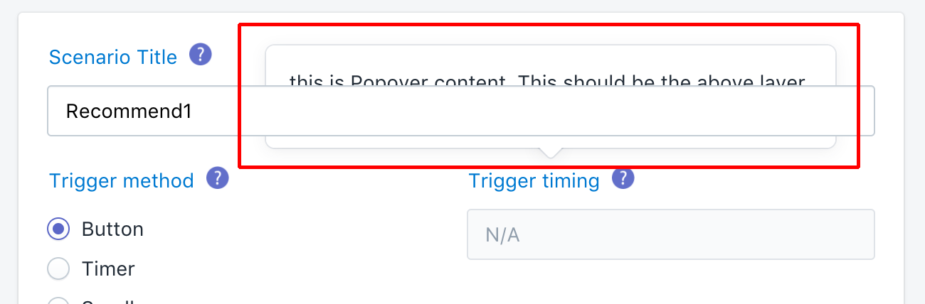 Popover content shows under an HTML form field layer · Issue