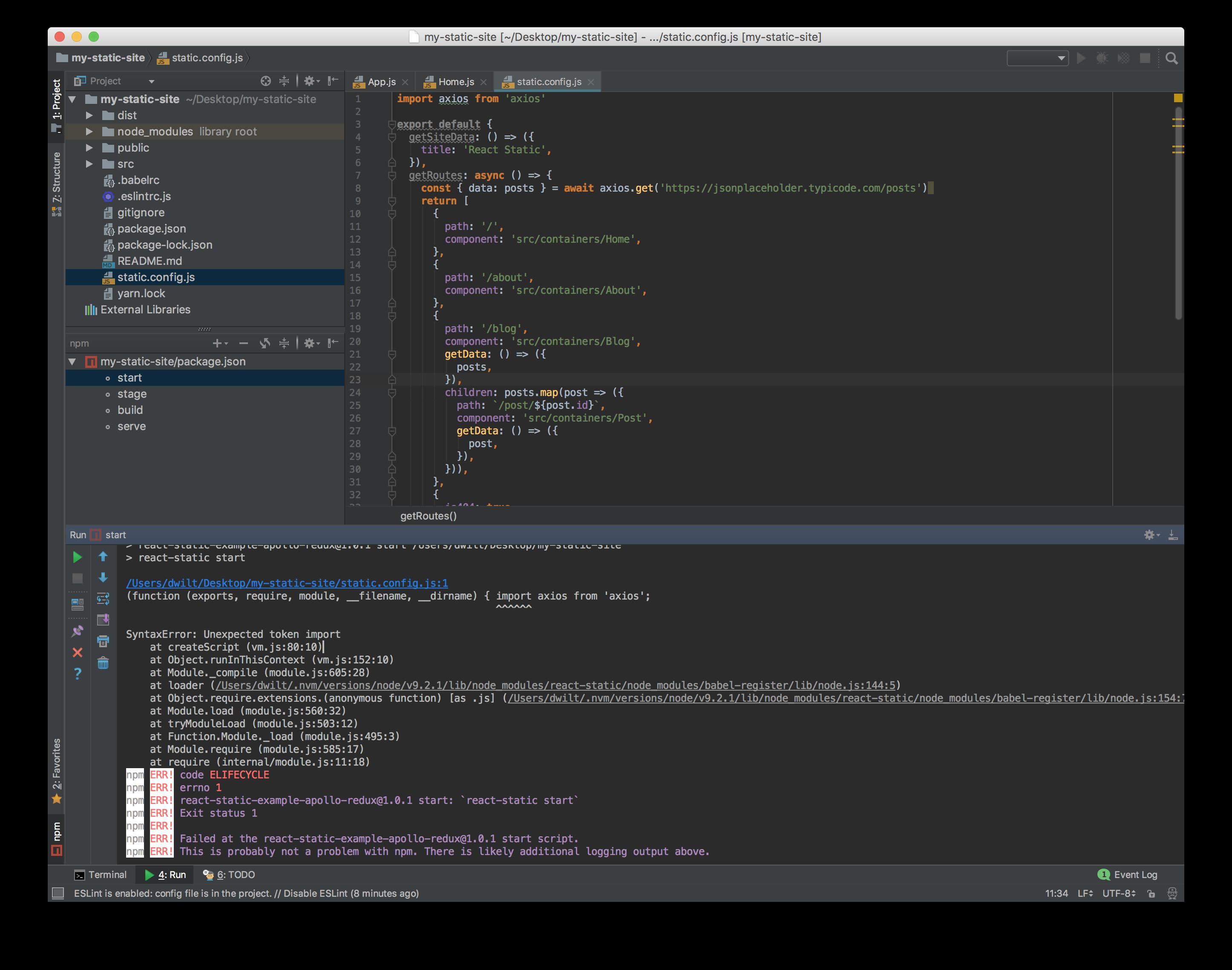 Build Error: SyntaxError: Unexpected token import - `import axios
