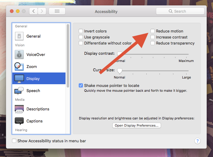 Mac OS system preferences showing a Reduce Motion checkbox.