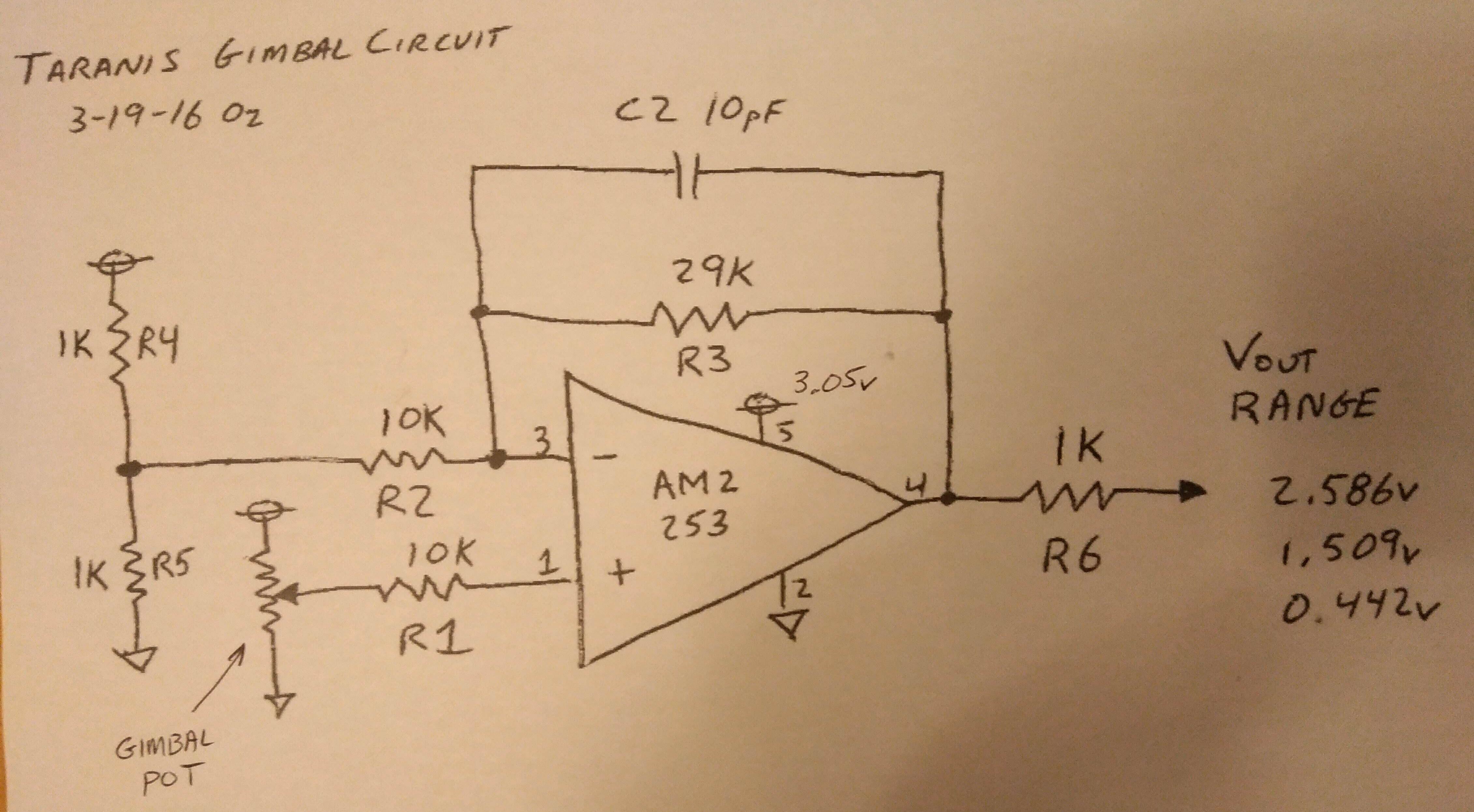 taranis gen1 first batch gimbal amp circuit