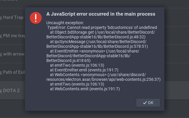JavaScript error occurred in the main process with bdcustomcss